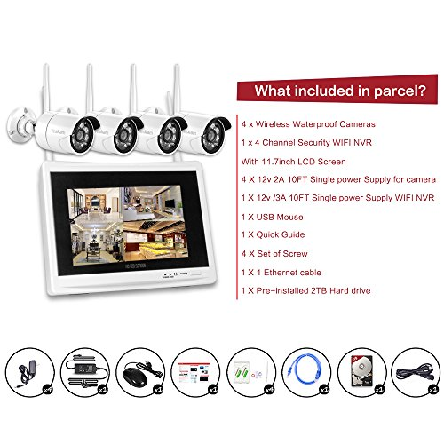 Yeskam Wireless Security Camera System 1080p 12 Quot Lcd Hd
