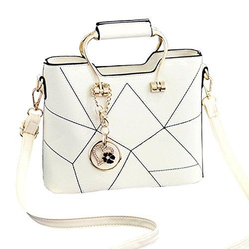 Fonshow Women Top Handle Handbags Satchel Purse Small Tote Bag Messenger Shoulder Bag (White)
