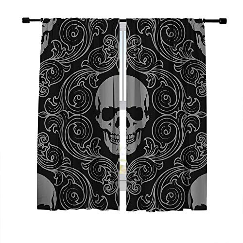 Misscc Blackout Curtains for Living Room Bedroom Kitchen Cafe, Window Treatment Thermal Insulated Drapes, Vintage Seamless Ornament with Skull in Baroque Style Window Curtains, 2 Panels