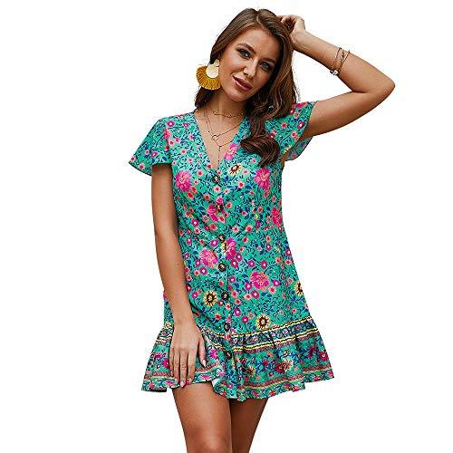 Exlura Women's Summer Bohemian Floral Printed Wrap V Neck Short Sleeve Ruffle Mini Dress Turquoise