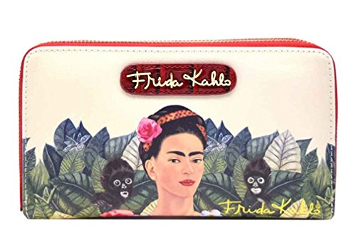 Frida Kahlo Around Zip Wallet with Wristlet, Monkeys Collection (Red)
