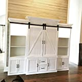 Hahaemall 8FT Interior J-Shape Mini Sliding Barn Door Hardware for Wine Cabinet Storage and TV Stand Black Track Set (8FT Double Kit)