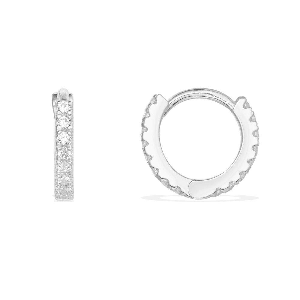 Thin Mini Ear Huggie Hoop Earrings Micro pave CZ Cartilage Hoops Sterling Silver 12mm