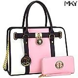 Medium Satchel Handbag Designer Large Purse Two Tone Padlock w/ Shoulder Strap (2 Tone With Wallet-Pink/White)