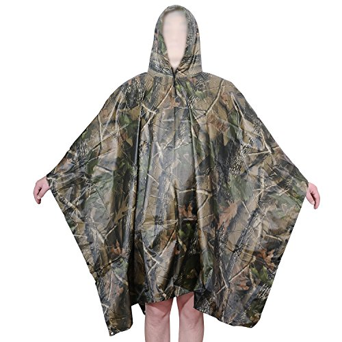 Camouflage Raincoat Mens (Aircee Multi-use Rain Poncho Men Camo Raincoat Women Reusable Rain Coat Military Rain Jacket Packable Rainwear (Leaf Camo))