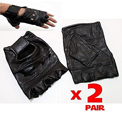 The Nekid Cow Black Leather TWO PAIR Half (1/2) Finger UNIVERSAL Fingerless Gloves For Motorcycle, Biker, Driving, Fitness, Workouts, Cycling, Hunting, Tactical and More - Durable - Light Weight w/Padded Palm Mens Womens - UNISEX [BUNDLE PACK-2 Pair]