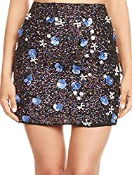 Sequin Skirt In Faux With Pearls Beaded Florals