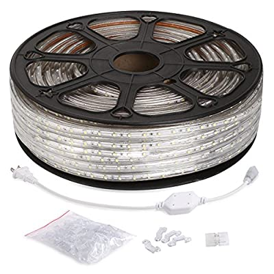 LE 164ft/50m Flexible LED Strip Lights, 3000 Units SMD 3528 LEDs, 3000K Warm White, 300lm/m, 110-120 V AC, Waterproof IP65, Accessories Included, Rope Lights, LED Tape, Christmas Holiday Decoration
