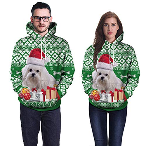 Moko-PP Women Men Unisex Couples 3D Christmas Dog Hoodies Blouse Tops Shirt
