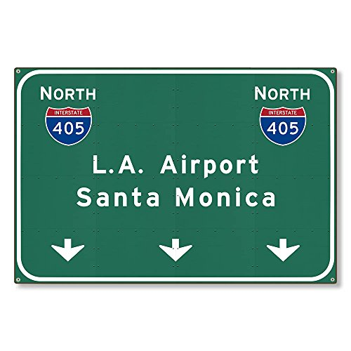 VictorJoan Los Angeles lax Airport I405 N Santa Monica Interstate Metal Sign Highway Freeway Wall Decor Reproduction Steel Sign Tin Sign 12x18 inch.