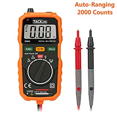 Tacklife DM04 Pocket Digital Multimeter Auto Ranging Multi Tester with Non Contact Voltage Detection DC/ AC Voltage & Current, Resistance,Connectivity Test