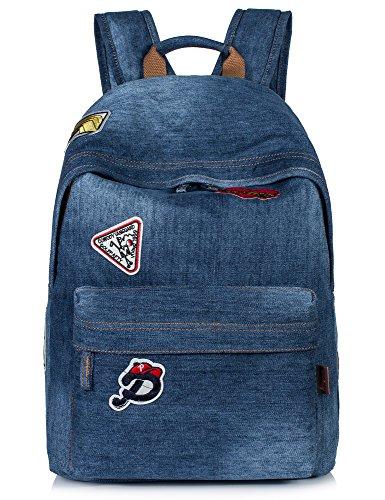 Denim Purse Blue Jean - School Bookbags for Girls, Vintage Denim School Backpack Laptop Bag Shoulder Daypack Handbag (Denim-Light Blue)
