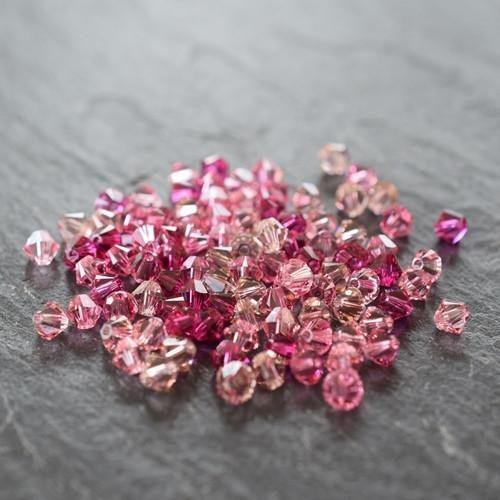 Swarovski Crystal Bicone Bead Mix Pinks | 6mm | Pack of 100 | Small & Wholesale Packs