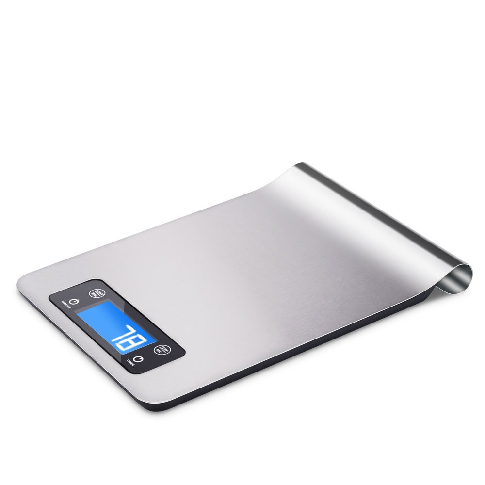 Vanghon Digital Kitchen Scale Stainless Steel Electronic Cooking Food Weighing Scale High Accurate to 11lb/5KG, Appliance for Home, Ambient Temperature Sensor, Kitchen Timer, Backlight LCD Display, Slim Design and Waterproof(g/ml/lb/oz)