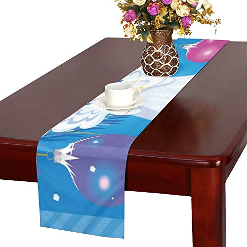 WBSNDB Greeting Christmas Card Angel Toy Table Runner, Kitchen Dining Table Runner 16 X 72 Inch for Dinner Parties, Events, ()