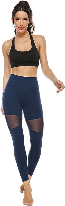 Legging de Sport Opaque Pantalon de Sport Long Femme avec Poches JOYSPELS Mesh Leggings Femme Taille Haute