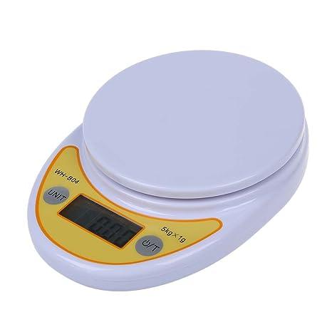 SODIAL(R) Balanza Bascula Pesa Digital Cocina Hasta 5 Kilos/1g A Pilas