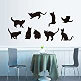 ufengke home Black Cat Silhouette Wall Art Stickers 9 Piece Cats Different Poses Decorative Removable DIY Vinyl Wall Decals Living Room, Bedroom Mural