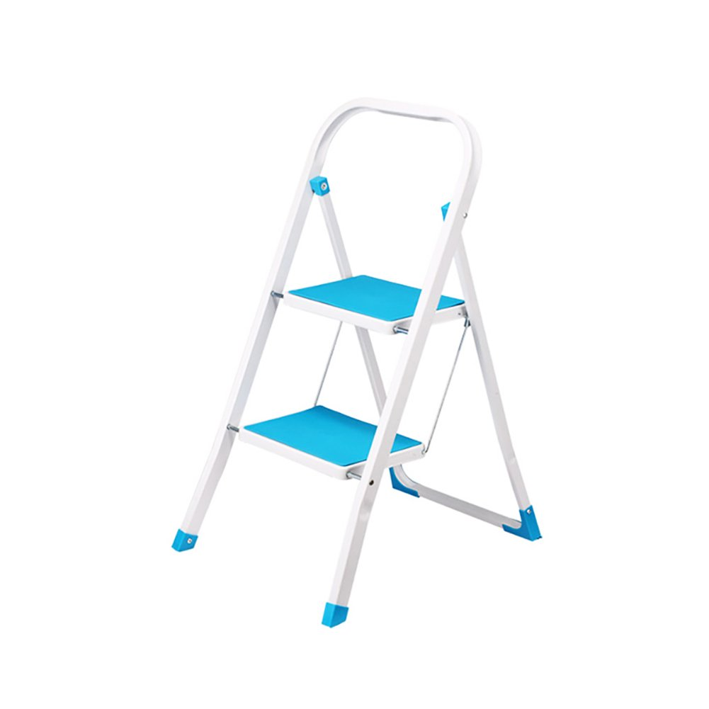 Small Ladder Indoor Non-Slip Two Steps Ladder Portable Fold Iron Step Stool (Color : Blue) MMDP