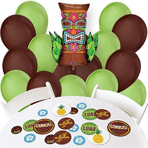 Tiki Luau - Confetti and Balloon Tropical Hawaiian Summer Party Decorations - Combo Kit