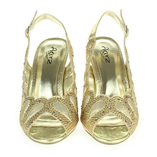 Mujer Señoras Corte con laser Diamante Peep Toe Tacón medio Noche Boda Fiesta Paseo Sandalias Zapatos Talla Oro