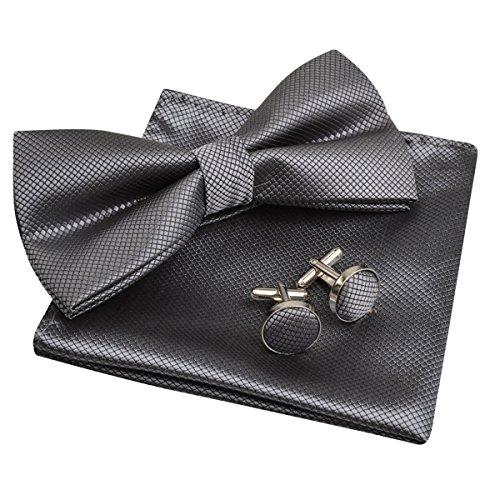 Mens Solid Formal Banded Pre-Tied Bow Ties Set-Dark Gray
