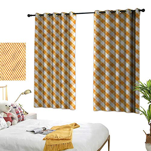 (Warm Family Checkered Insulated Sunshade Curtain Orange Gingham Tile Privacy Protection 55