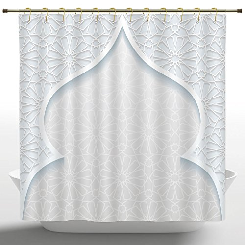 Anti-Bacterial Shower Curtain by iPrint,Traditional House Decor,Ornamental Moroccan Mosque Pattern Retro Middle Eastern Home Decor,Light Blue,Polyester Fabric Bathroom Shower Curtain Set with Hooks -