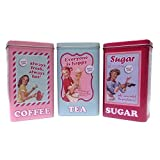 Set of 3 Retro 50's Style Coffee, Tea & Sugar Tin Canisters by CAS
