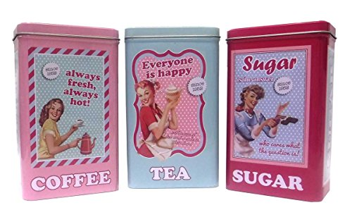 Set of 3 retro 50 39 s style coffee tea sugar tin canisters retro home decor olivia decor - Pink tea and coffee canisters ...