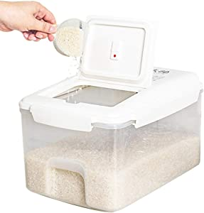 22lb Airtight Rice Storage Container Rice Dispenser Food Storage Container with Wheels Food Dispenser for Flour, Dry Food, Kitchen Organization
