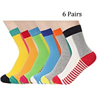 [Patrocinado] Women Colorful Casual Crew dress Socks 6 pairs Cute Funny Novelty Patterned Socks Comfortable cotton non slip sports socks