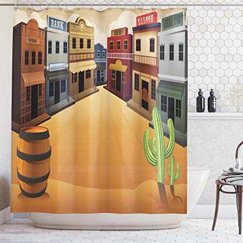 Ambesonne Saloon Decor Collection, Cartoon Illustration of Old Western Town Shops Store Street Old Style Structure Design, Polyester Fabric Bathroom Shower Curtain Set with Hooks, Orange Beige ()