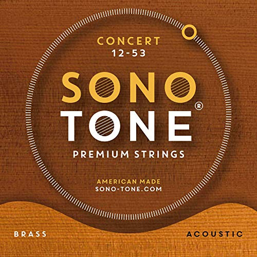 SonoTone Concert, 12-53, Light, Acoustic Guitar Strings, Custom Brass Alloy Wrap, Hand-Wound, Hex Core, Bright, Balanced, Sustain, Vintage and Traditional Sound, American Made