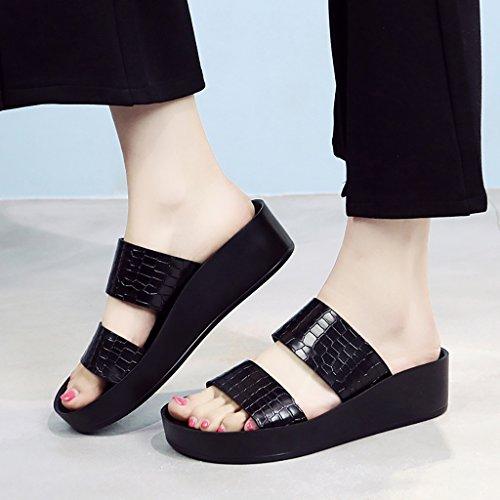 PENGFEI Chanclas de playa para mujer Zapatillas de playa de verano Zapatillas de playa de mujer Sandalias planas de mujer negro Cómodo y transpirable ( Color : Negro , Tamaño : EU36/UK4/L:230mm ) Negro