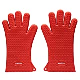 KaraMona Premium Silicone Oven Gloves Extra Long And Thick, Silicone Oven Mitts Heat Resistant Grill Gloves, Silicone Kitchen Mitts and Potholders, BBQ Cooking Gloves, Red