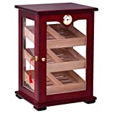mdf countertop - Giantex Countertop Cigar Humidor Cabinet Tempered Glass Lockable w/Humidifiers Hygrometer 150 Cigars