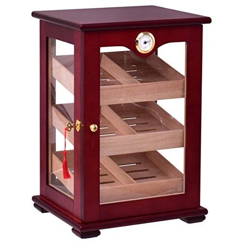 Giantex Countertop Cigar Humidor Cabinet Tempered Glass Lockable w/ Humidifiers Hygrometer 150 Cigars