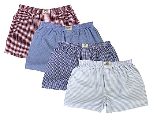 Fabio Farini Men's Woven Boxer Shorts Pack of 4, 100% Cotton, Size:S;Men Boxershorts:Set - Retro Shorts Boxer