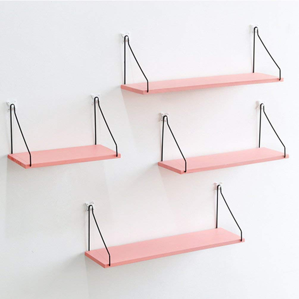 BFHCVDF Geometric Wooden Wall Shelf Wall Mounted Storage Rack Organization For Bedroom Pink S