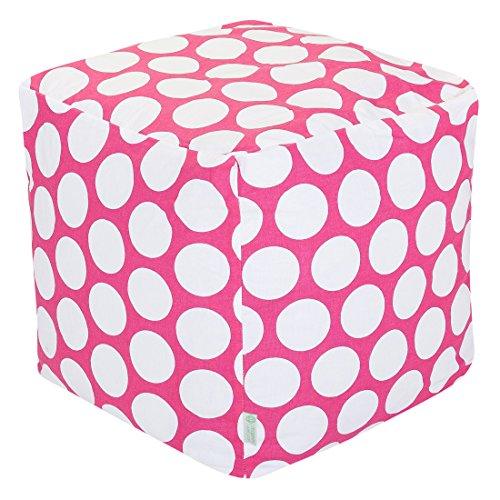 """Majestic Home Goods 85907210125 Hot Pink Large Polka Dot Bean Bag Ottoman Pouf Cube L W x 17"""" H"""