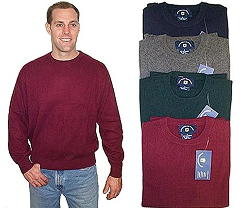 - New Men's Ribbed Crew 100% Cashmere Sweater (Small, Navy)