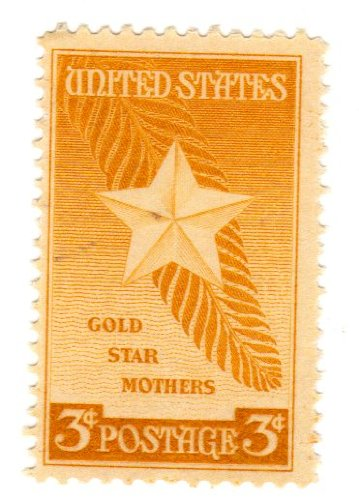 Postage Stamps United States. One Single 3 Cents Orange Yellow, Star and Palm Frond, Gold Star Mothers Issue, Stamp Dated 1948, Scott #969.