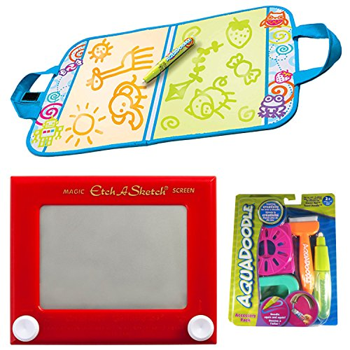 Travel Toys Bundle AquaDoodle Drawing Travel Mat Neon + Spin Master Etch A Sketch + Accessory Pack | Games & Activities For Toddlers, Kids, Girls And Boys | Best Color With Water Gifts by SpinMaster