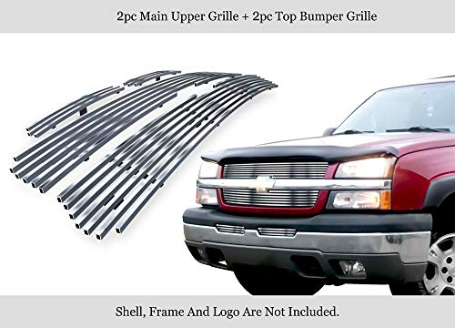 APS 304 Stainless Billet Grille Grill Combo Compatible with 03-05 Silverado 1500 03-04 2500 3500 N19-C57676C