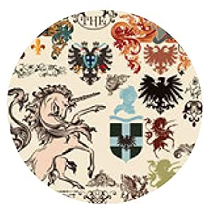 alfombrilla de ratón Colección de vectores de elementos heráldicos en el estilo vintage - ronda - 20cm