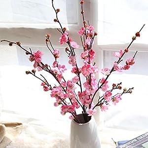 LtrottedJ Artificial Fake Flowers Plum Blossom Floral Wedding Bouquet Home Decor Pink (Pink) 1