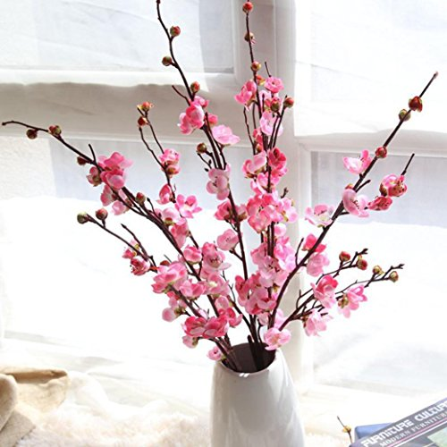 LtrottedJ Artificial Fake Flowers Plum Blossom Floral Wedding Bouquet Home Decor Pink (Poppy Anemone Mix)
