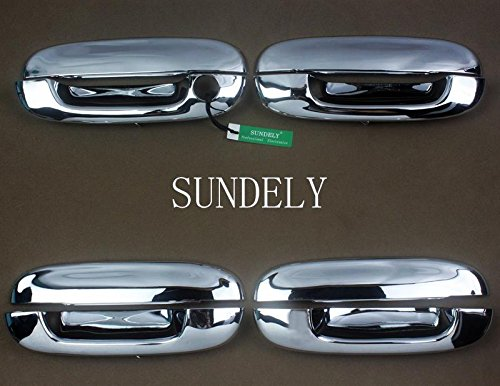 SUNDELY ABS Chrome Plated Silver Tone Door Handle Catch Cover Molding Trim for Cadillac CTS DeVille DTS (Set of 4 Handle - Cts Base Trim Cadillac
