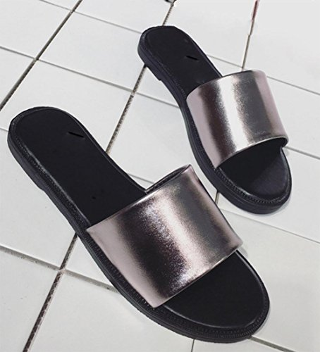 Antideslizantes damas mujeres zapatillas de verano usan sandalias planas y zapatillas dark gray